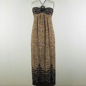 Vintage CAROLE LITTLE Halter Top Maxi Dress Size 8